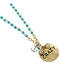 """17"""" Turquoise and Goldtone """"Crazy"""" Disk Cluster Pendant Necklace #8363N-CRAZY"""