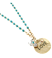 """17"""" Turquoise and Goldtone """"Love"""" Disk Cluster Pendant Necklace #8363N-LOVE"""