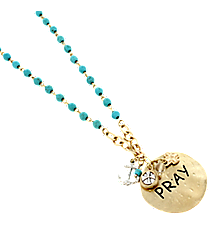 """17"""" Turquoise and Goldtone """"Pray"""" Disk Cluster Pendant Necklace #8363N-PRAY"""