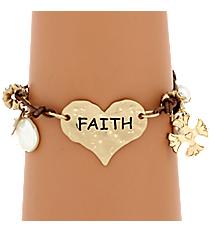 Faith Heart Leather Charm Bracelet #8373B-FAITH