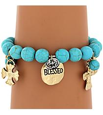Blessed and Crosses Charm Stretch Bracelet #8376B-TQ-CROSS
