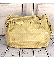 SALE! Beige Faux Woven Leather Shoulder Bag #HBG90838BEI