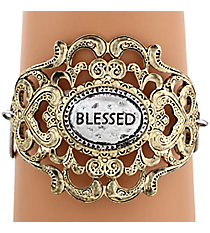 "Two-Tone ""Blessed"" Filigree Hook Bracelet #8393B-BLESSED"
