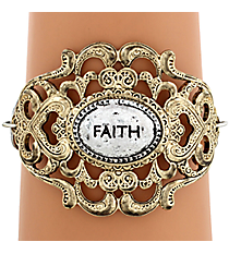 "Two-Tone ""Faith"" Filigree Hook Bracelet #8393B-FAITH"