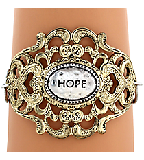 "Two-Tone ""Hope"" Filigree Hook Bracelet #8393B-HOPE"