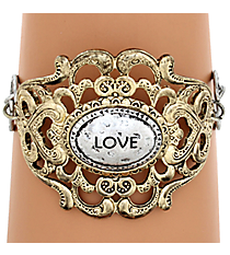"Two-Tone ""Love"" Filigree Hook Bracelet #8393B-LOVE"