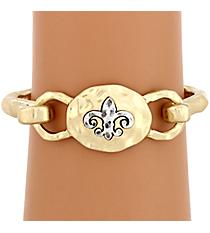 Goldtone with Silvertone Fleur De Lis Hook Bracelet #8400B-FLEUR-GD