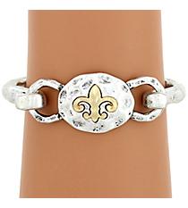 Silvertone with Goldtone Fleur De Lis Hook Bracelet #8400B-FLEUR-SL