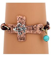 Coppertone Cross with Silvertone Fleur De Lis Bracelet #8437B-FLEUR