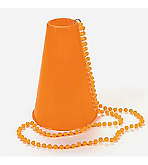 6 Plastic Orange Beads with Megaphones #85/3646