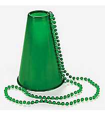 6 Plastic Green Beads with Megaphones #85/3647