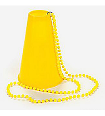 6 Plastic Yellow Beads with Megaphones #85/3648