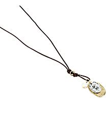 """17"""" Fleur De Lis with Pearl Accent Leather Cord Necklace #8540N-FLEUR"""
