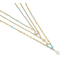 3-Piece Goldtone and Aqua Beaded Key Necklace Set #8539N-KEY
