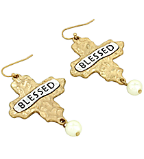 """Blessed"" Cross and Pearl Earrings #8543E-IV-BLESSED"