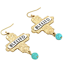 """Blessed"" Cross and Turquoise Bead Earrings #8543E-TQ-BLESSED"