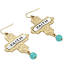 """Faith"" Cross and Turquoise Bead Earrings #8543E-TQ-FAITH"