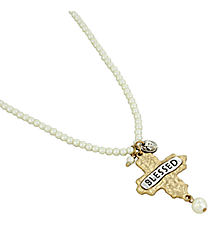 "16"" ""Blessed"" Cross Pendant Pearl Necklace #8543N-IV-BLESSED"