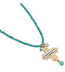 "16"" ""Amazing Grace"" Cross Pendant Turquoise Bead Necklace #8543N-TQ-AMAZING"