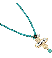 "16"" ""Faith"" Cross Pendant Turquoise Bead Necklace #8543N-TQ-FAITH"
