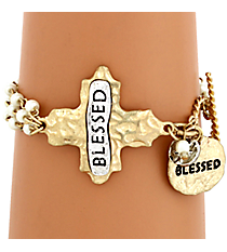 """Blessed"" Cross and Pearl Toggle Bracelet #8545B-IV-BLESSED"