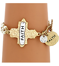"""Faith"" Cross and Pearl Toggle Bracelet #8545B-IV-FAITH"