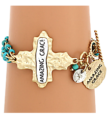 """Amazing Grace"" Cross and Turquoise Bead Toggle Bracelet #8545B-TQ-AMAZING"