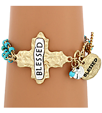 """Blessed"" Cross and Turquoise Bead Toggle Bracelet #8545B-TQ-BLESSED"