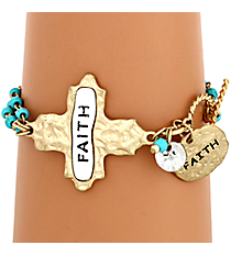 """Faith"" Cross and Turquoise Bead Toggle Bracelet #8545B-TQ-FAITH"