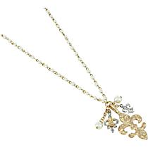 """35"""" Pearl Beaded Fleur De Lis Necklace #8552N-GD-IV-FLEUR"""