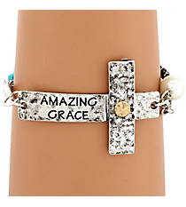 """Amazing Grace"" Hammered Sideways Cross Bracelet #8558B-AMAZING"