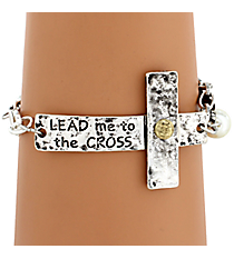 """Lead Me To The Cross"" Hammered Sideways Cross Bracelet #8558B-LEAD"