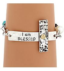 """I Am Blessed"" Hammered Sideways Cross Bracelet #8558B-BLESSED"