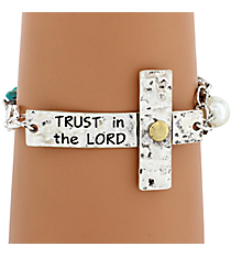 """Trust In The Lord"" Hammered Sideways Cross Bracelet #8558B-TRUST"