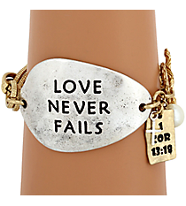 """Love Never Fails"" Two-Tone Toggle Bracelet #8571B-FAILS"