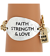 """Faith Strength & Love"" Two-Tone Toggle Bracelet #8571B-FAITH"