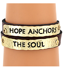 """Hope Anchors the Soul"" Leather Wrap Bracelet #8573B-HOPE"