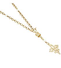 "26"" Goldtone and Ivory Beaded Fleur De Lis Necklace #8603N-GD-IV-FLEUR"