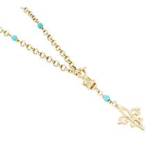 """26"""" Goldtone and Turquoise Beaded Fleur De Lis Necklace #8603N-GD-TQ-FLEUR"""