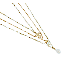 3-Piece Goldtone and Ivory Beaded Fleur De Lis Necklace Set #8605N-FLEUR