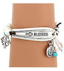 """Blessed"" Spoon Handle Pearl Charm Bracelet #8610B-BLESSED"