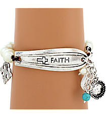 """Faith"" Spoon Handle Pearl Charm Bracelet #8610B-FAITH"