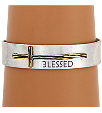 "Goldtone with Silvertone Sideways Cross ""Blessed"" Cuff Bracelet #8615B-GD-BLESSED"