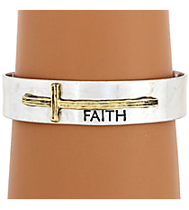 "Silvertone with Goldtone Sideways Cross ""Faith"" Cuff Bracelet #8615B-SL-FAITH"
