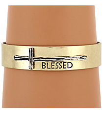 "Silvertone with Goldtone Sideways Cross ""Blessed"" Cuff Bracelet #8615B-SL-BLESSED"
