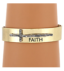"Goldtone with Silvertone Sideways Cross ""Faith"" Cuff Bracelet #8615B-GD-FAITH"