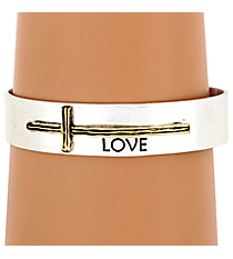 "Silvertone with Goldtone Sideways Cross ""Love"" Cuff Bracelet #8615B-SL-LOVE"