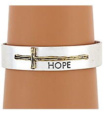 "Silvertone with Goldtone Sideways Cross ""Hope"" Cuff Bracelet #8615B-SL-HOPE"