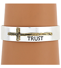 "Silvertone with Goldtone Sideways Cross ""Trust"" Cuff Bracelet #8615B-SL-TRUST"