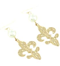 Pearl Accented Goldtone Fleur De Lis Earrings #8662E-GD-FLEUR
